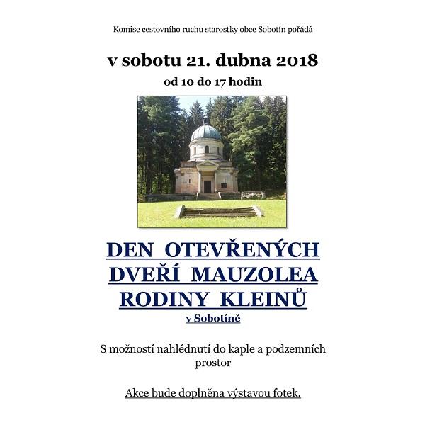 Den otevřených dveří mauzolea rodiny Kleinů