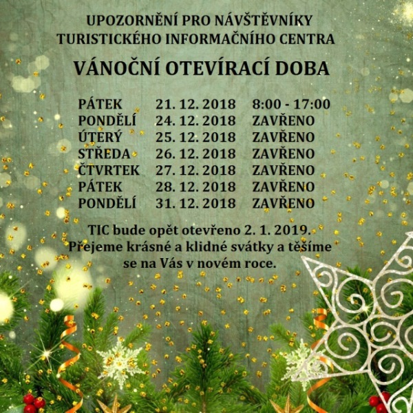 Vánoční otevírací doba TIC Zábřeh