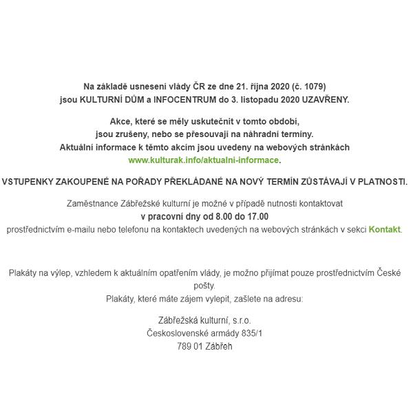 Uzavření kulturního domu, kina Retro od 12. 10. a Informačního centra od 22. 10. do 3. 11. 2020